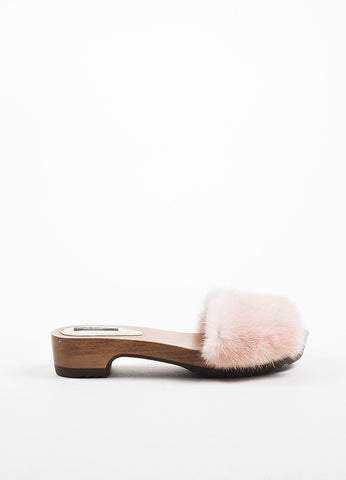 Pink Dolce & Gabbana Mink Fur & Wood Studded Open Toe Clogs Side