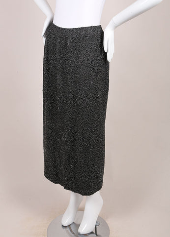 Donna Karan Charcoal Grey Bugle Beaded Wool Blend Knit Midi Skirt Sideview