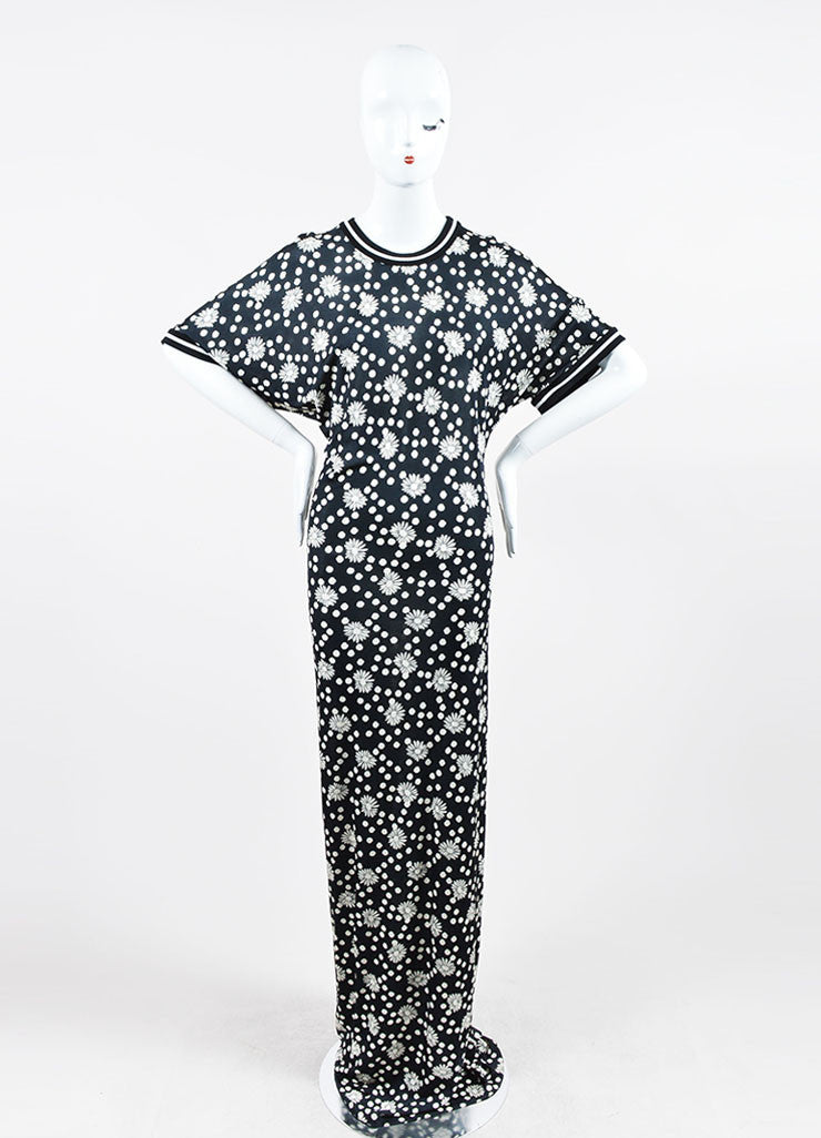 Black and White Emanuel Ungaro Floral Polka Dot Short Sleeve Maxi Dress Frontview