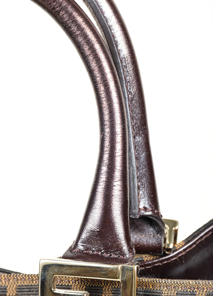"Fendi ""Zucca and Straw Tobacco"" Brown Monogram Top Handle Tote Detail 2"