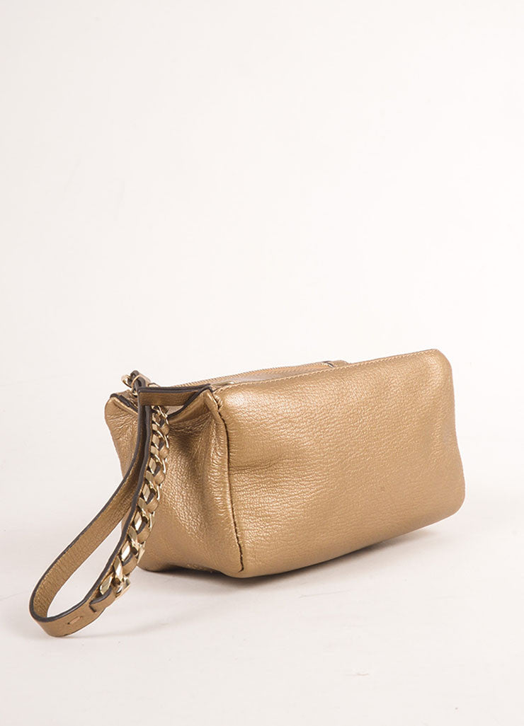 "Givenchy Gold Metallic Grained Leather ""Pandora"" Chain Wristlet Clutch Bag Bottom View"