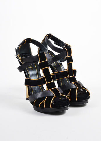 "Gucci Black and Gold Suede Leather Metallic ""Malika"" Sandal Heels frontview"
