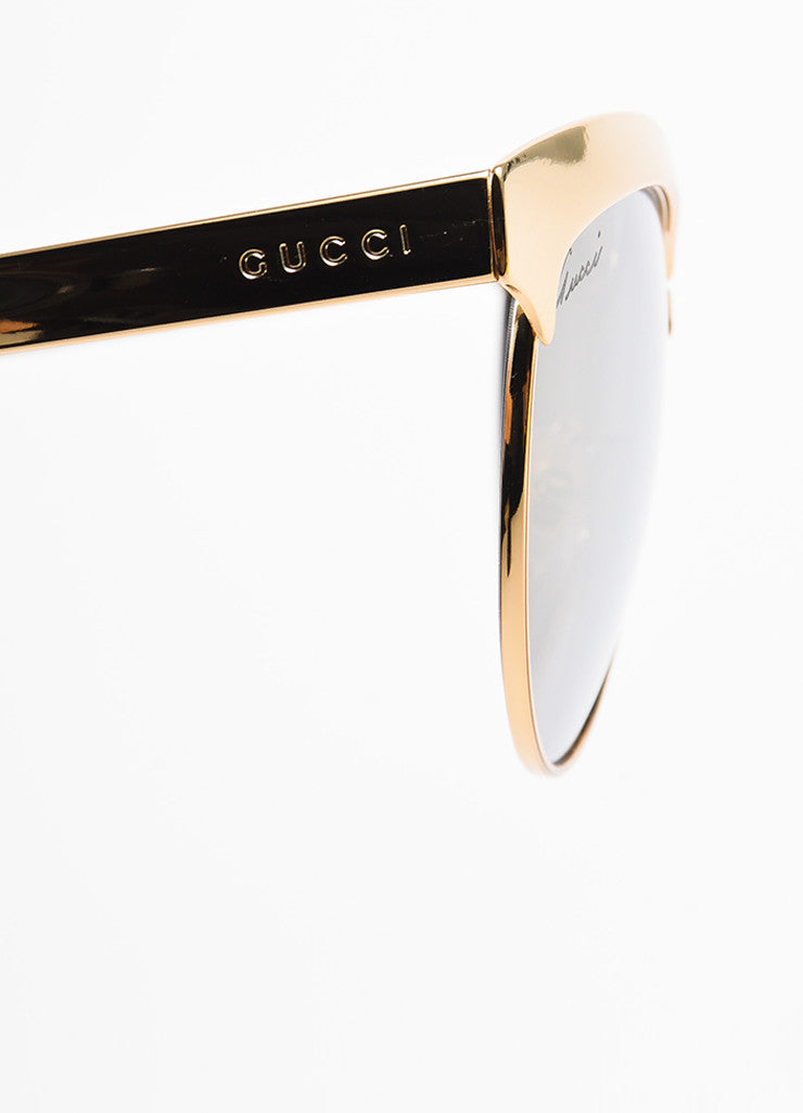 Gucci Gold Toned and Grey Mirrored Cat Eye Sunglasses Detail