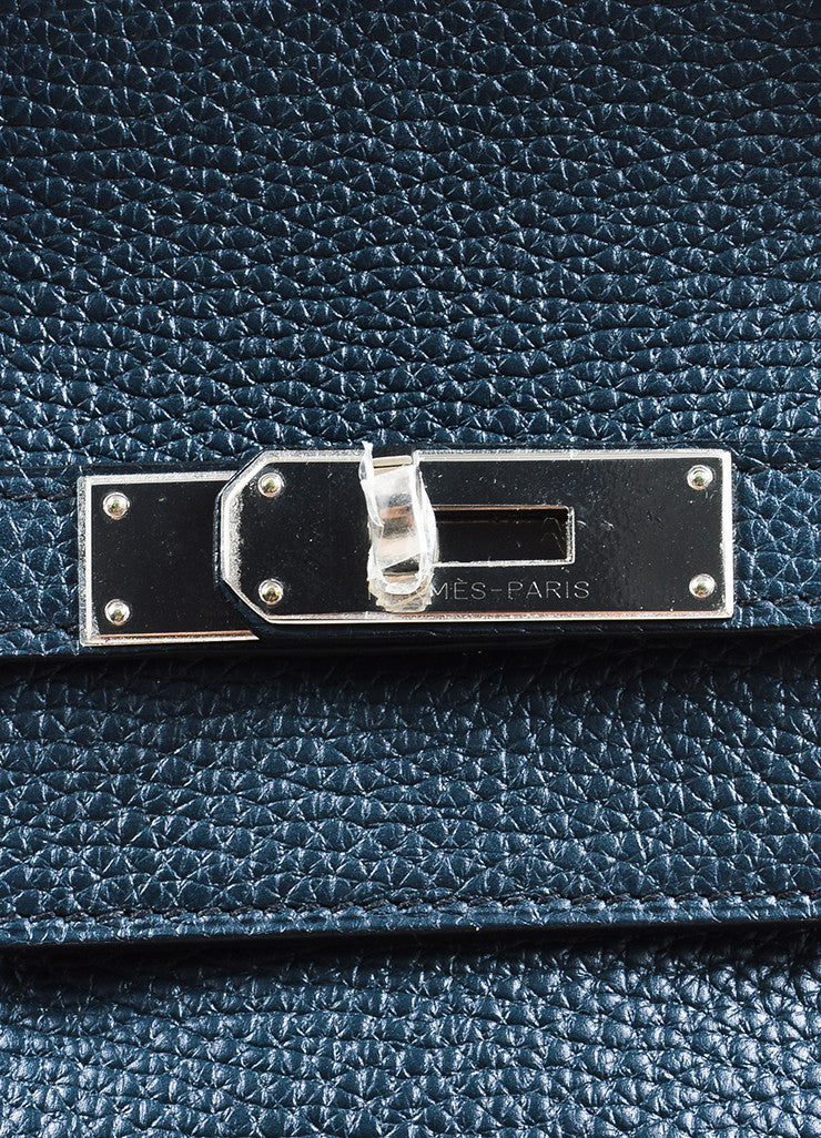 "Hermes Navy Blue Clemence Leather Palladium Hardware ""Birkin"" 40 cm Bag Detail 4"