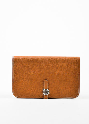 "Hermes Tan ""Gold"" Togo Leather ""Dogon GM"" Wallet Frontview"