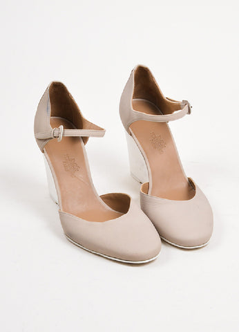 Taupe and Cream Hermes Leather Wooden Wedge Heel Ankle Strap Pumps Frontview
