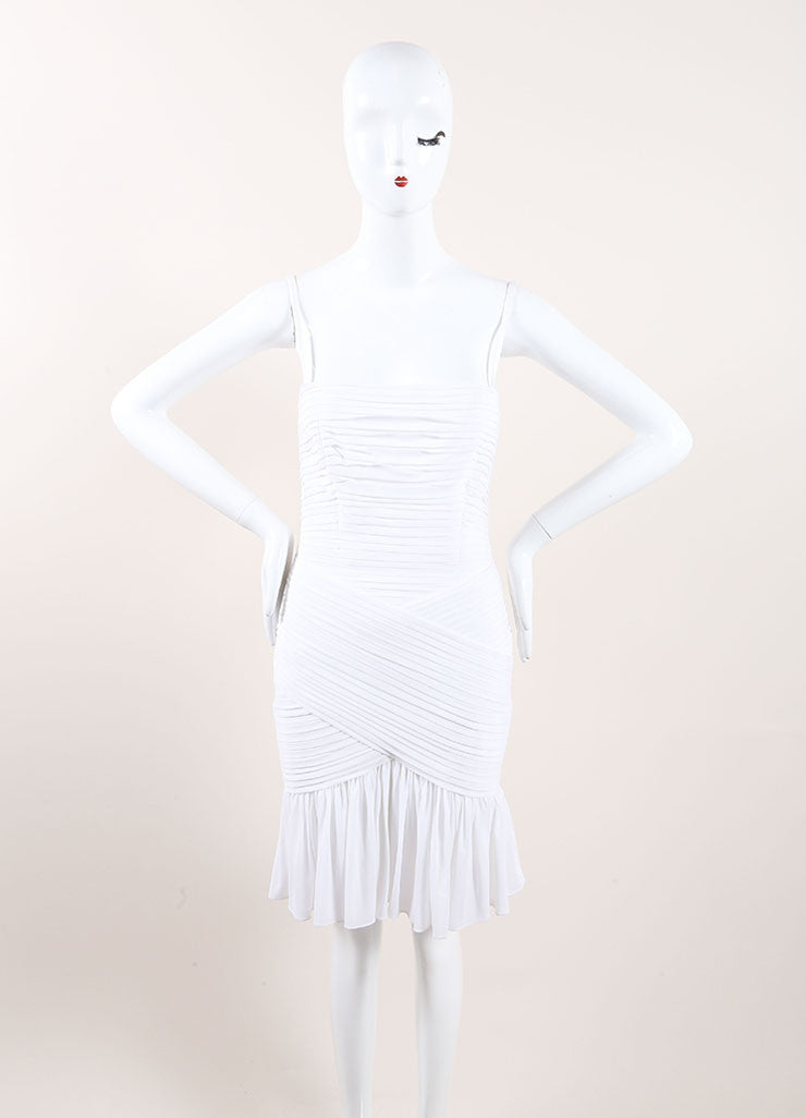 Herve Leroux New With Tags White Stretch Sleeveless Ruched Flounce Dress Frontview