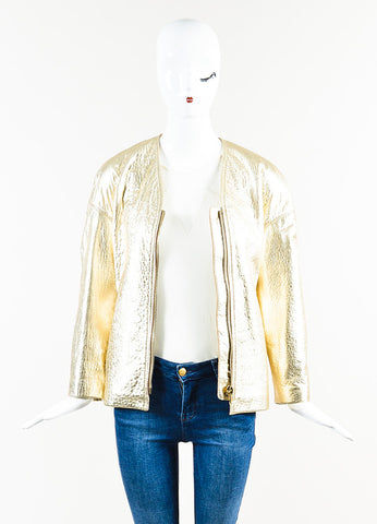 "Gold Isabel Marant Pebbled Leather ""Camelia"" Gold Tone Zip Jacket Front"