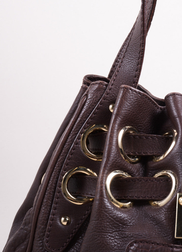 "Jimmy Choo Chocolate Brown Leather ""Ramona"" Belted Grommet Hobo Bag Detail 2"