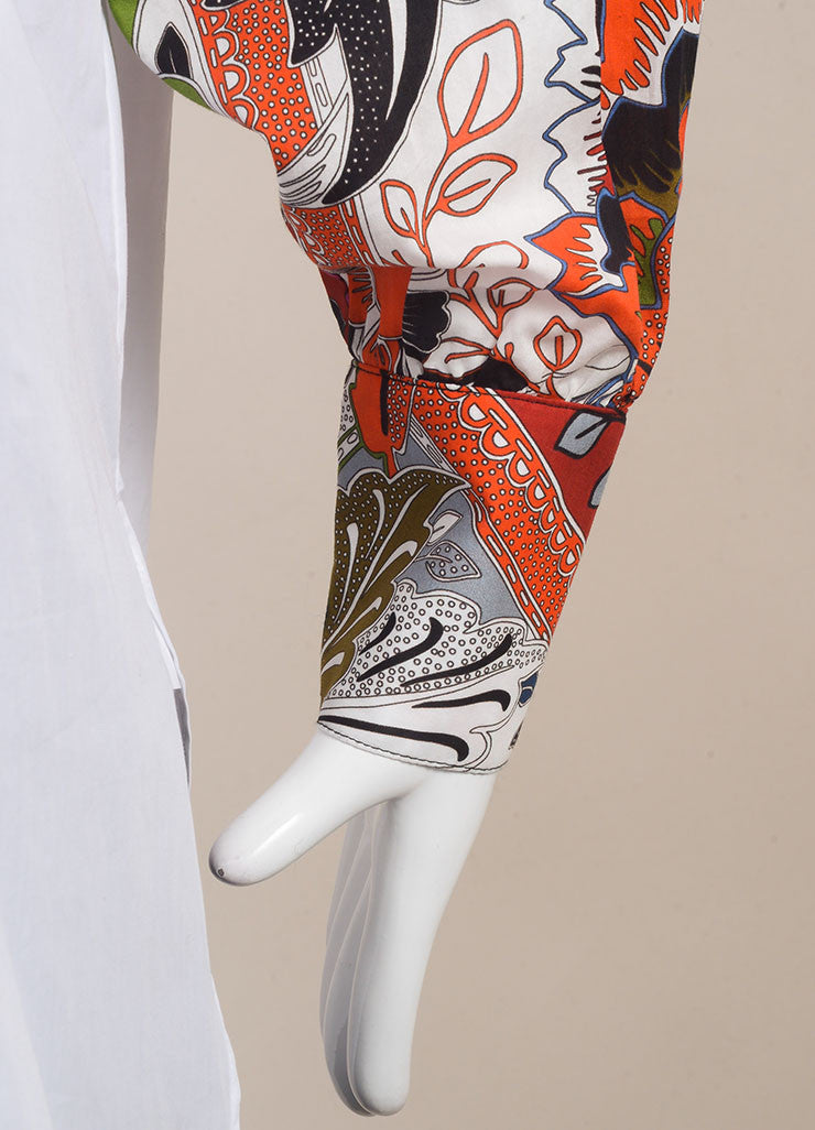 "Jonathan Saunders New With Tags White and Red Poplin Floral Print ""Eliza"" Shirt Detail"