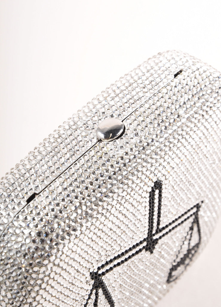 "Judith Leiber New With Tags Silver Toned Rhinestone ""Libra"" Chain Strap Clutch Bag Detail"
