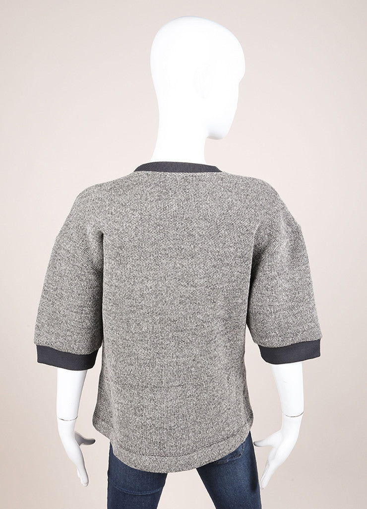 Kenzo New With Tags Grey and White Knit Wool Blend Short Sleeve Sweatshirt Backview