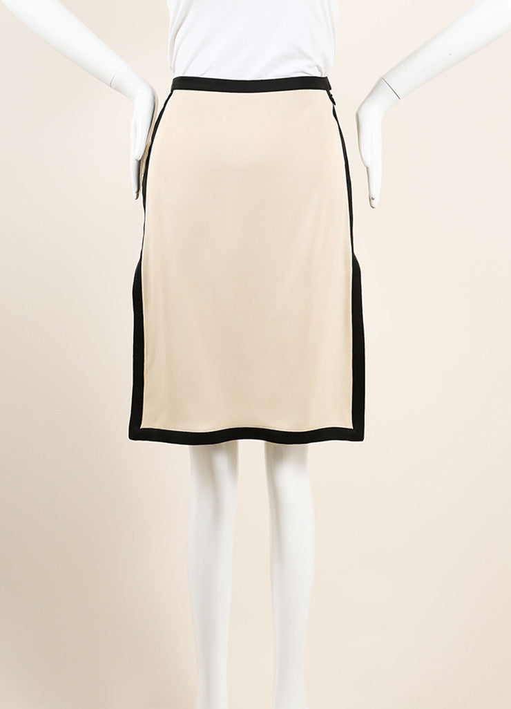 Lanvin Beige and Black Silky Color Block High Slit A-Line Skirt Frontview