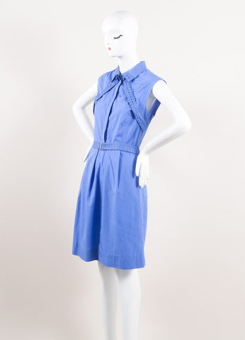Lela Rose New With Tags Blue Cotton Poplin Lace Inset Sleeveless Belted Shirt Dress Sideview