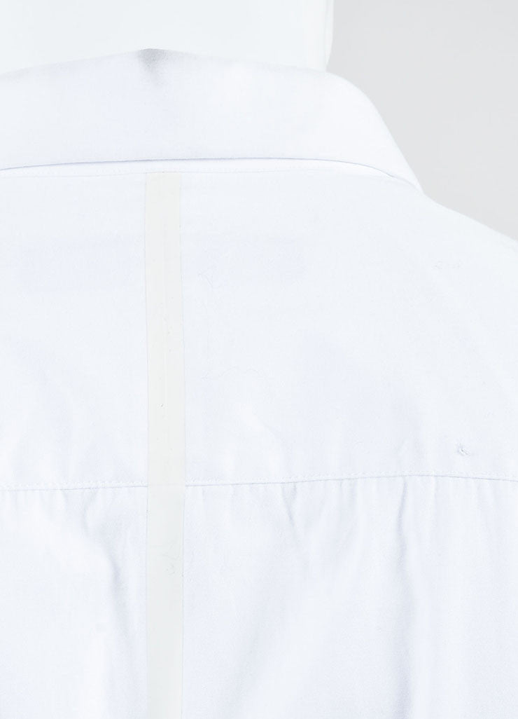 Men's Givenchy White Poplin Mesh Basketball Panel Button Up Shirt Detail 4