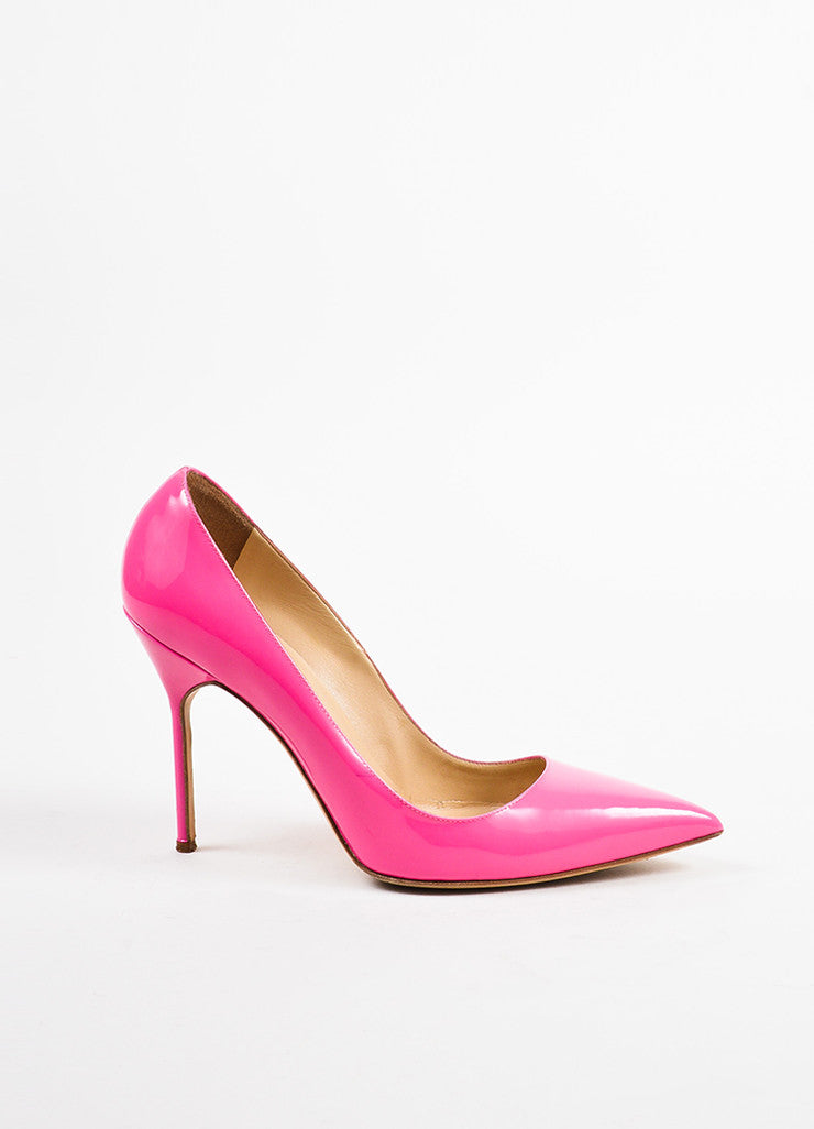 "Manolo Blahnik Hot Pink Patent Leather Pointed Toe ""BB"" Pumps Sideview"