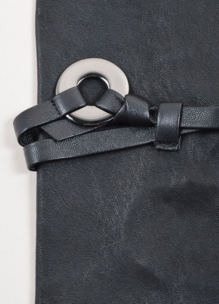 Marie Saint Pierre Black Leather Belted Fingerless Long Gloves Detail