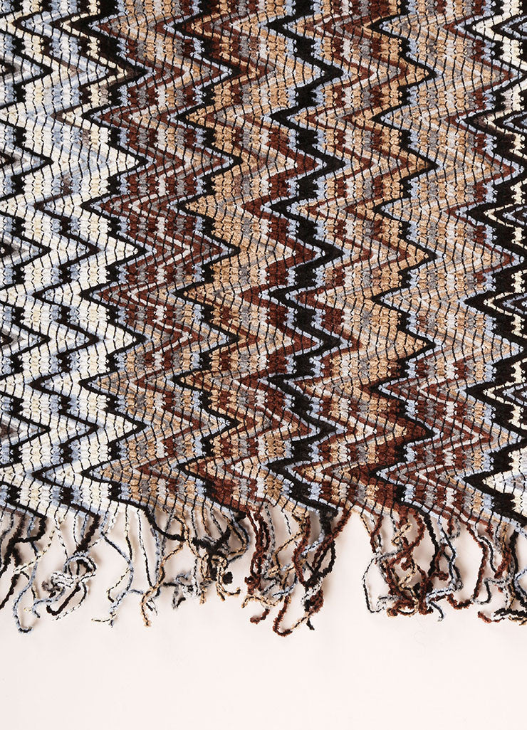 Missoni Black, White, and Multicolor Woven Knit Chevron Print Tassel Scarf Detail 2