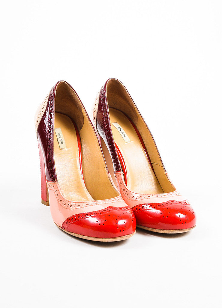 Miu Miu Pink, Red, and Maroon Patent Leather Oxford Style Block Heel Pumps Frontview