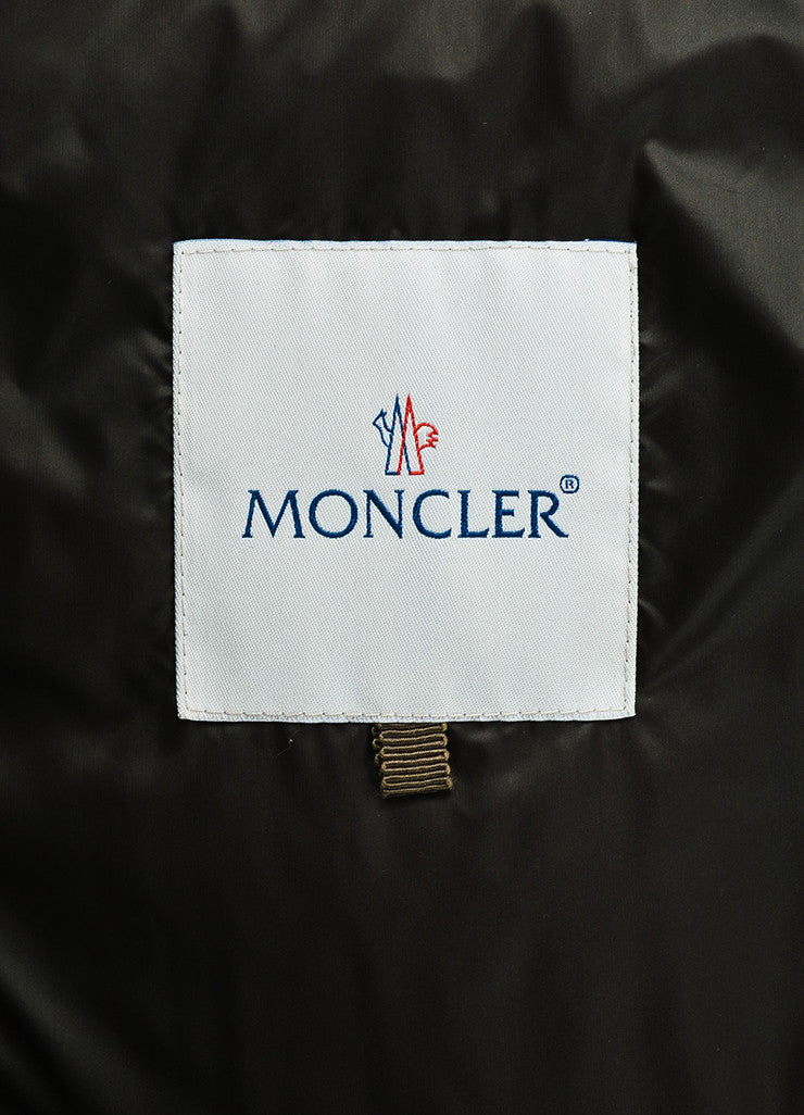 Moncler Dark Olive Green Quilted Down Filled Ruffle Waist Puffer Jacket