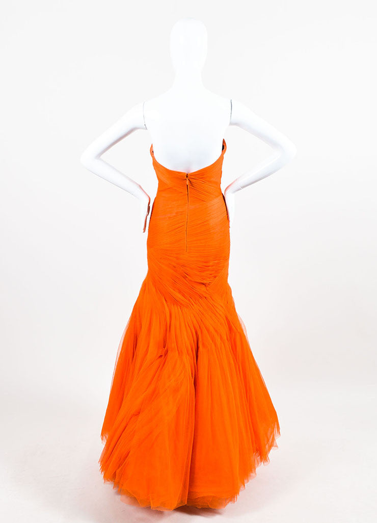 Monique Lhuillier Orange Strapless Mesh Tulle Full Gown Backview