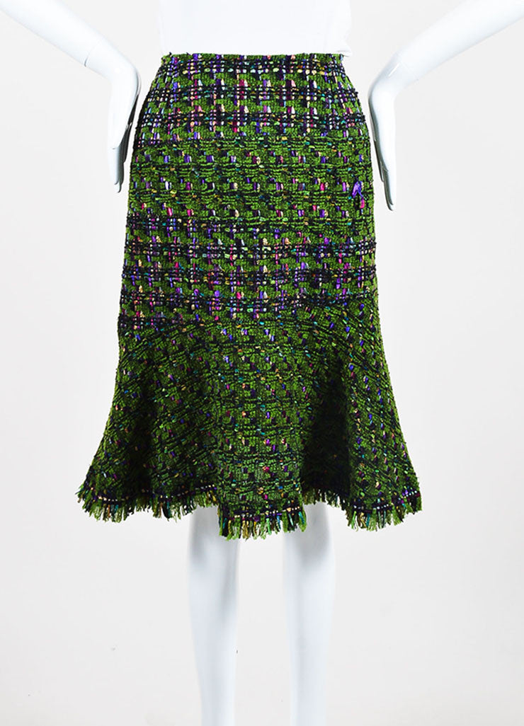 Oscar de la Renta Green, Purple, and Pink Wool Blend Tweed Flared Skirt Frontview