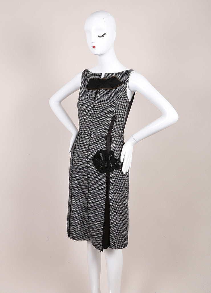 Prada Black and White Wool and Mohair Tweed Flower Embroidered Sleeveless Dress Sideview