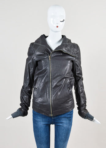 Rick Owens Grey Leather Hooded Moto Jacket Frontview 2