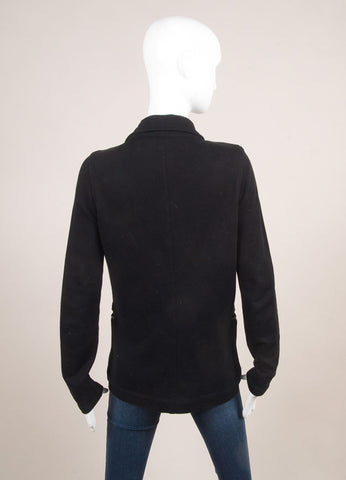 T by Alexander Wang Black Cotton Blend Leather Trim Jacket Backview