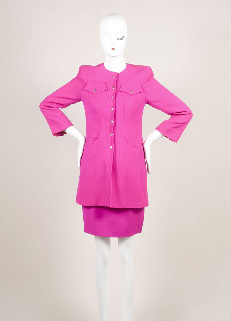 Bazar by Christian Lacroix Hot Pink Wool Jacket and Skirt Suit Frontview