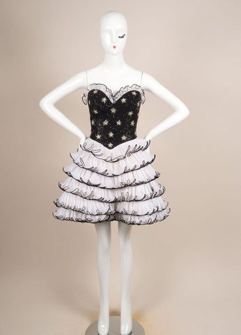 Bob Mackie Black and Cream Beaded Pleated Ruffle Strapless Cocktail Dress Frontview