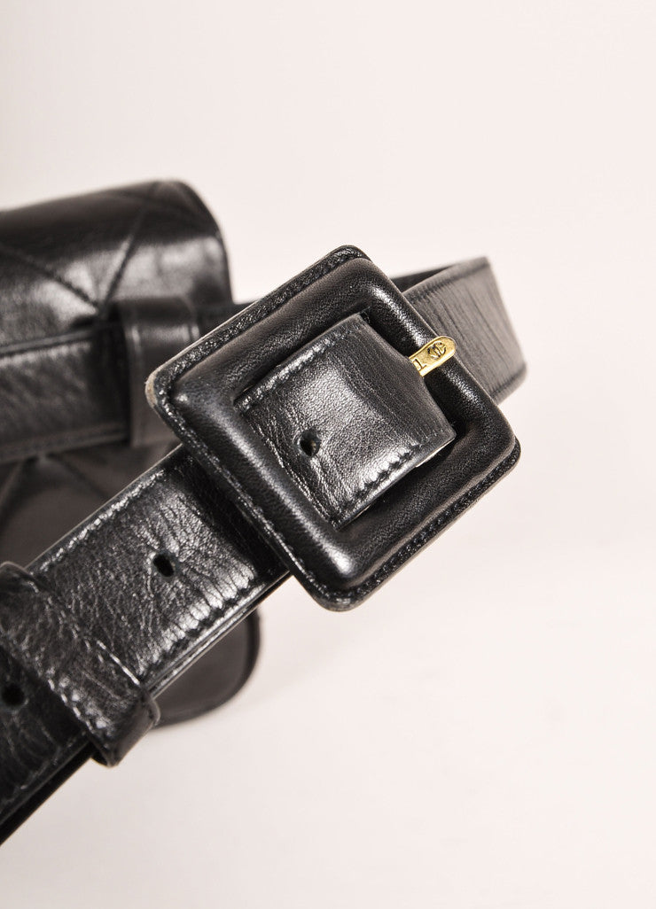 "Chanel Black and Gold Toned ""CC"" Turnlock Quilted Leather Belt Bag Detail 2"