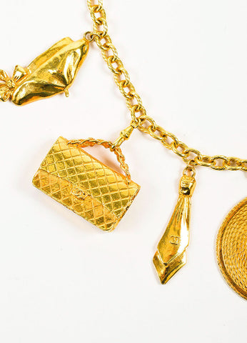 Gold Toned Chanel Oversized Charm Statement Necklace Detail