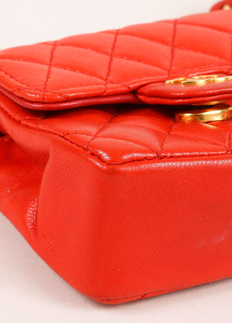 Chanel Red Mini Lambskin Flap Bag Belt Bag Detail