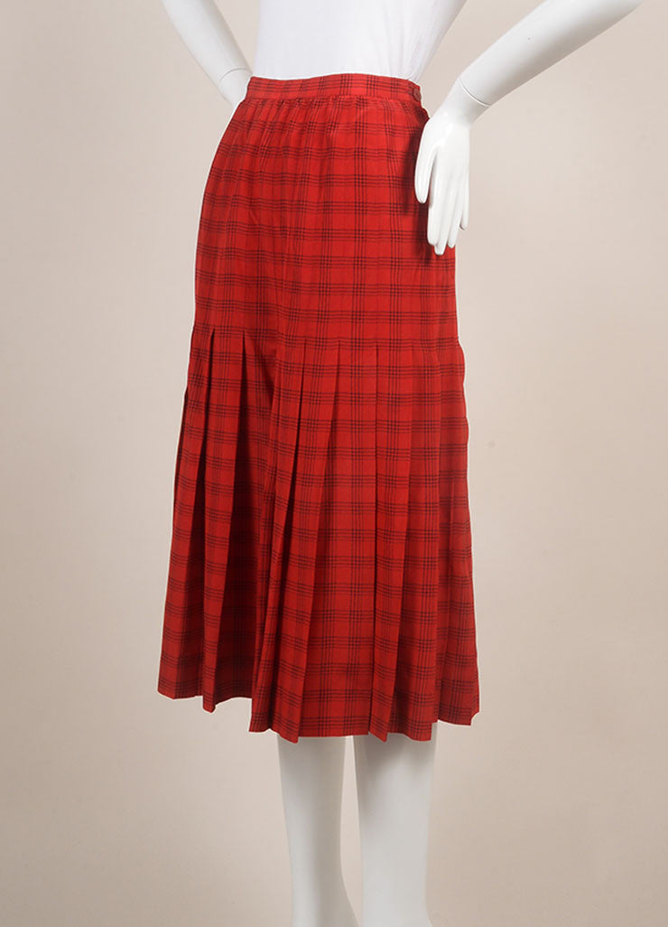 Chanel Red Plaid Pleated Midi Skirt Sideview