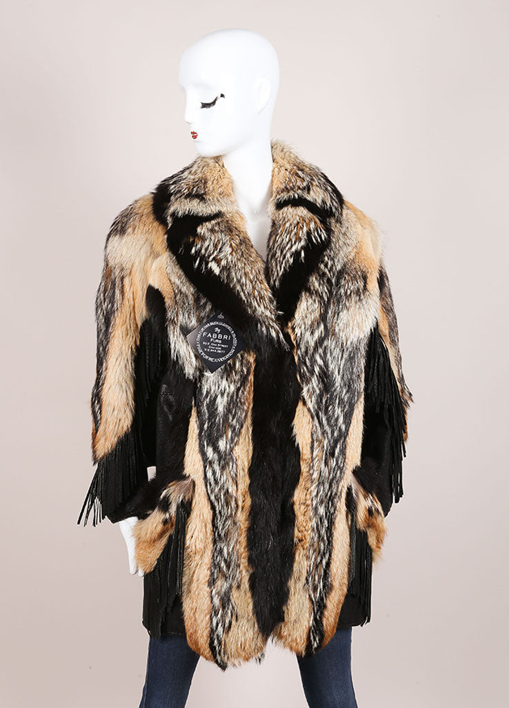 Marshall Fields Brown and Black Fur and leather Fringe Trim Mid Length Coat Frontview