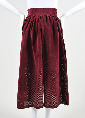 "Wine Red Vilshenko Suede Perforated ""Jerry"" Split Full Skirt Front 2"