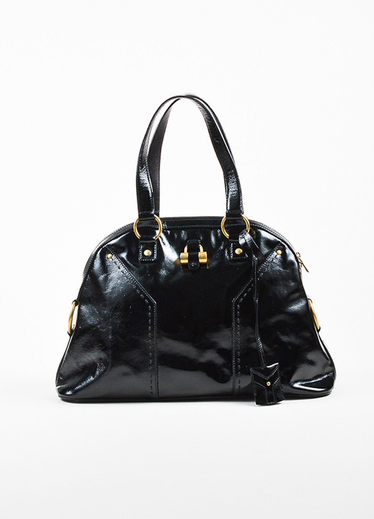 "Black Yves Saint Laurent Patent Leather Large ""Muse"" Bag Front"