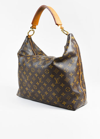 "Louis Vuitton ""Sully MM"" Brown Tan Coated Canvas Leather Monogram Bag Sideview"