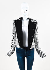 Haider Ackermann White and Black Jacquard Patterned Military Jacket Frontview