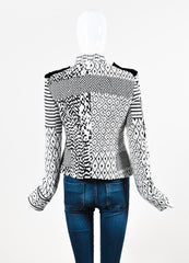 Haider Ackermann White and Black Jacquard Patterned Military Jacket Backview