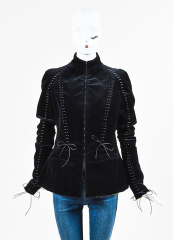 Haider Ackermann Black and Green Velvet Lace Up Jacket Frontview 2