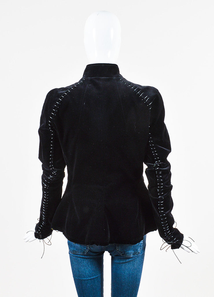 Haider Ackermann Black and Green Velvet Lace Up Jacket Backview