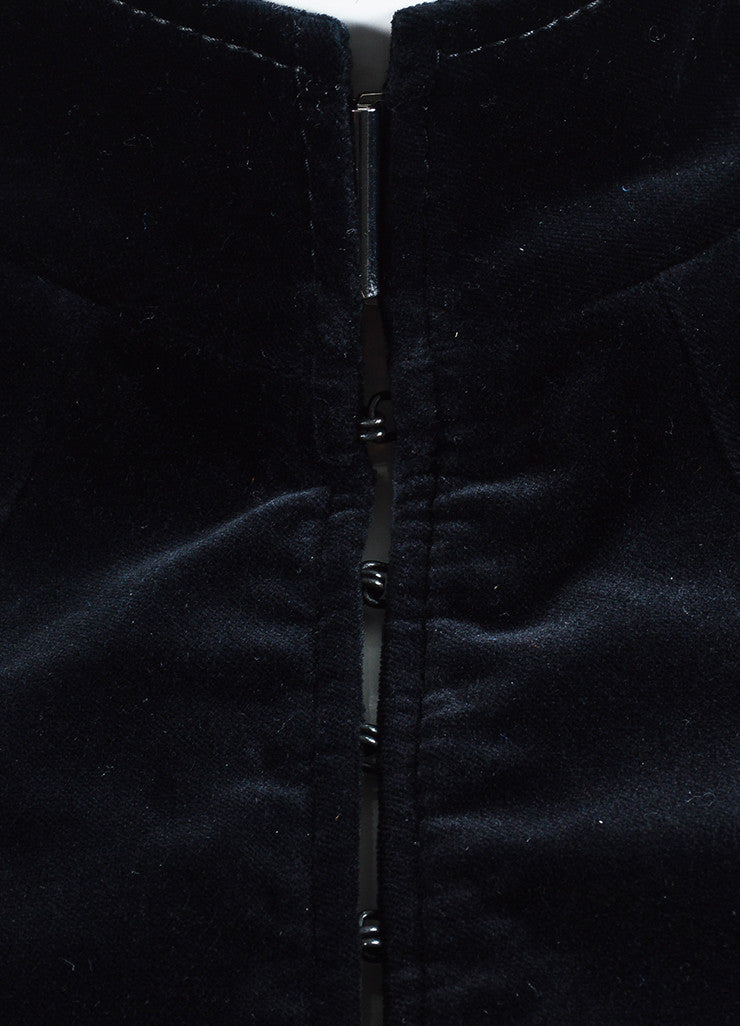 Haider Ackermann Black and Green Velvet Lace Up Jacket Detail