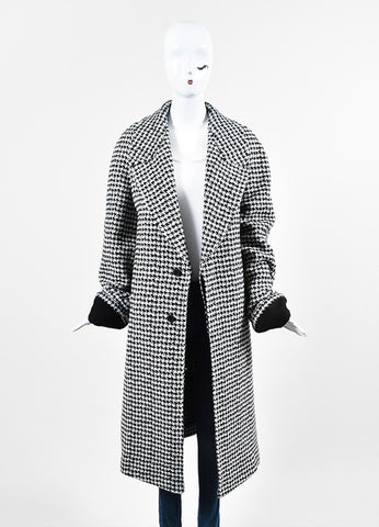 "Haider Ackermann ""Gershom"" Black and White Alpaca Wool Houndstooth Coat Frontview"