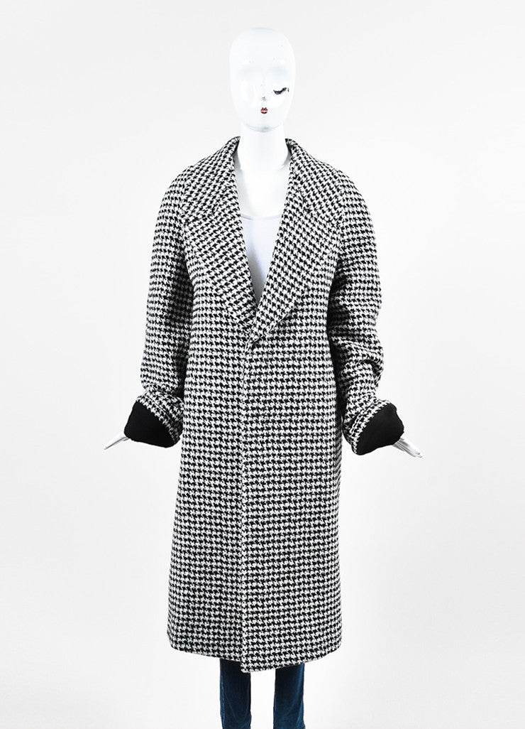 "Haider Ackermann ""Gershom"" Black and White Alpaca Wool Houndstooth Coat Frontview 2"