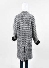 "Haider Ackermann ""Gershom"" Black and White Alpaca Wool Houndstooth Coat Backview"