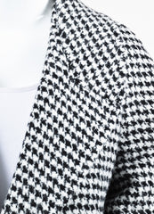 "Haider Ackermann ""Gershom"" Black and White Alpaca Wool Houndstooth Coat Detail 2"