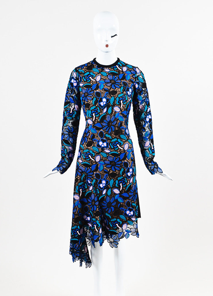 Self Portrait Black, Blue, and Pink Guipere Lace Long Sleeve Floral Dress Frontview