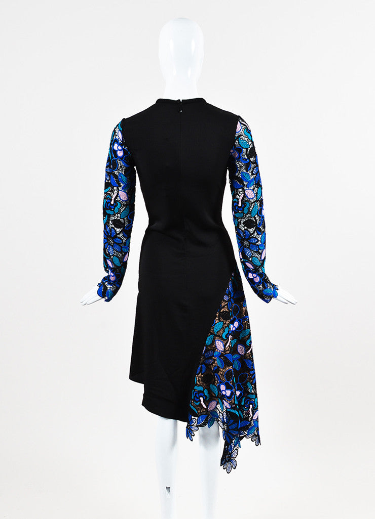 Self Portrait Black, Blue, and Pink Guipere Lace Long Sleeve Floral Dress Backview